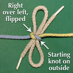 Right-over-Left Granny Knot, flipped, with starting knot on the outside